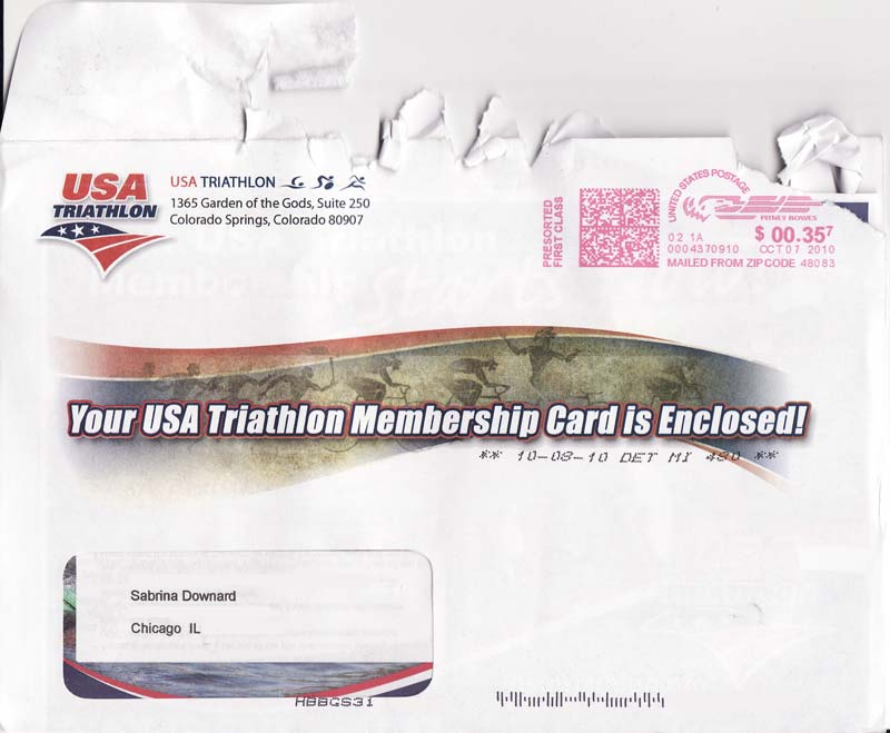 USA Triathlon - Membership Card Enclosed