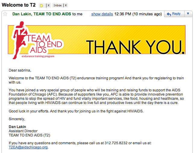 Welcome email from Team 2 End Aids